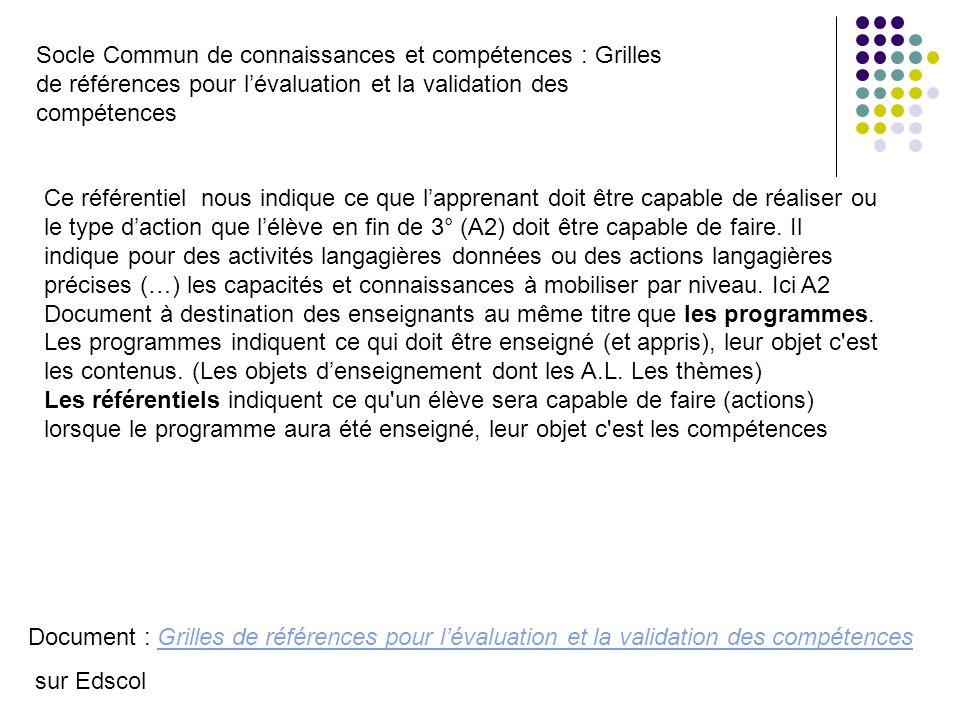 Socle Commun de connaissances et compétences : Grilles de références pour lévaluation et la validation des compétences Document : Grilles de référence