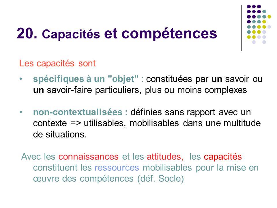 Les capacités sont spécifiques à un objet : constituées par un savoir ou un savoir-faire particuliers, plus ou moins complexes non-contextualisées : définies sans rapport avec un contexte => utilisables, mobilisables dans une multitude de situations.