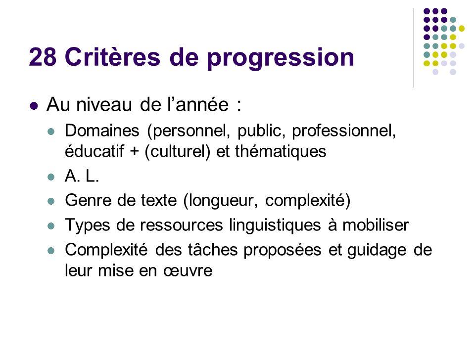 28 Critères de progression Au niveau de lannée : Domaines (personnel, public, professionnel, éducatif + (culturel) et thématiques A.