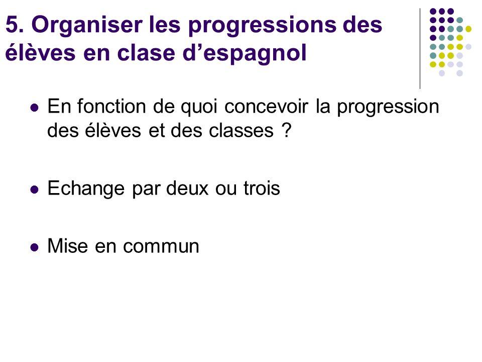 5. Organiser les progressions des élèves en clase despagnol En fonction de quoi concevoir la progression des élèves et des classes ? Echange par deux