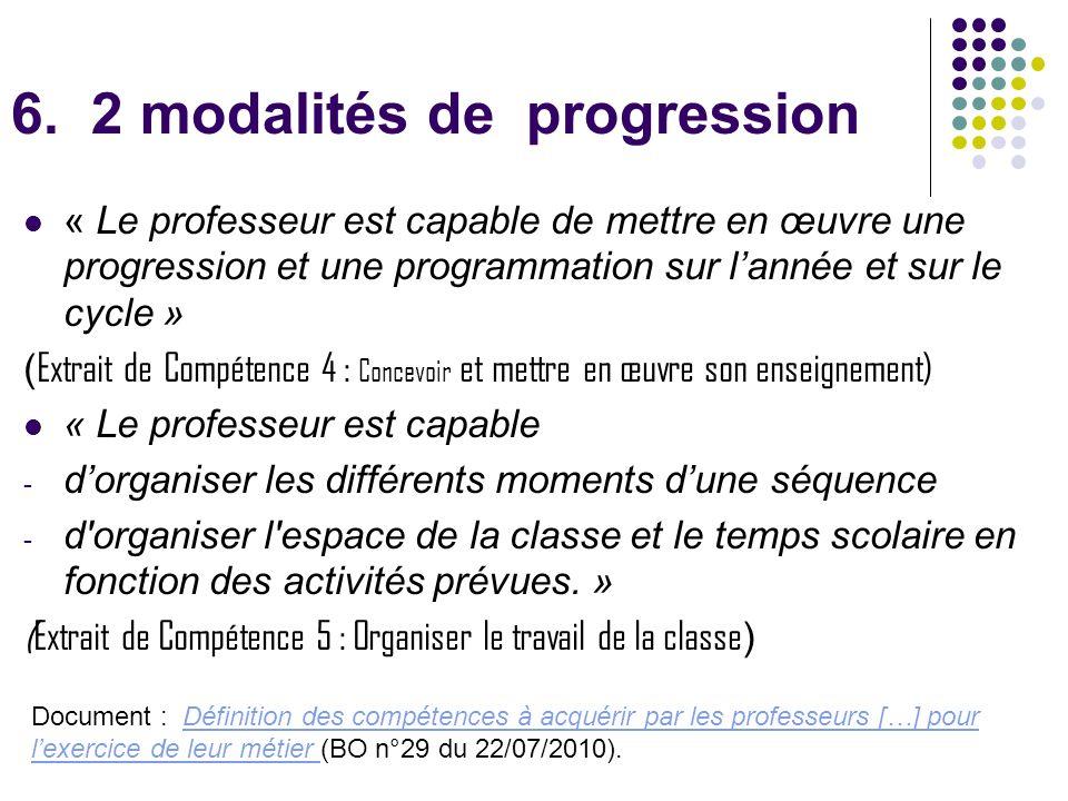 6. 2 modalités de progression « Le professeur est capable de mettre en œuvre une progression et une programmation sur lannée et sur le cycle » ( Extra