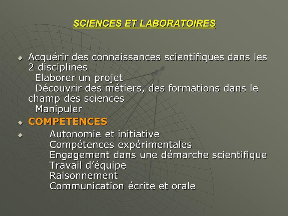 SCIENCES ET LABORATOIRES Acquérir des connaissances scientifiques dans les 2 disciplines Elaborer un projet Découvrir des métiers, des formations dans