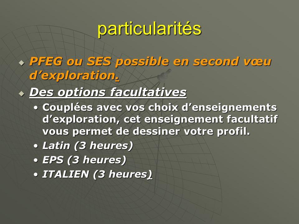 particularités PFEG ou SES possible en second vœu dexploration. PFEG ou SES possible en second vœu dexploration. Des options facultatives Des options