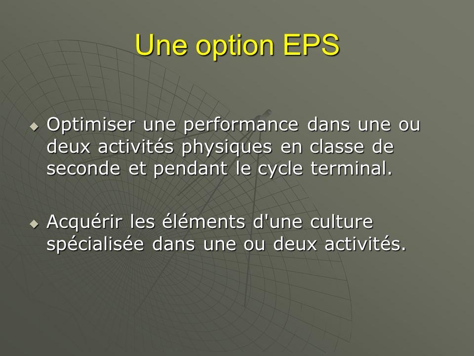 Une option EPS Optimiser une performance dans une ou deux activités physiques en classe de seconde et pendant le cycle terminal. Optimiser une perform