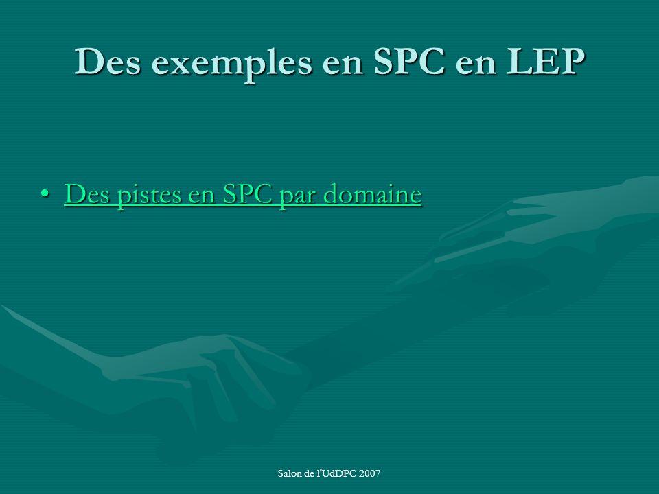 Salon de l'UdDPC 2007 Des exemples en SPC en LEP Des pistes en SPC par domaineDes pistes en SPC par domaineDes pistes en SPC par domaineDes pistes en