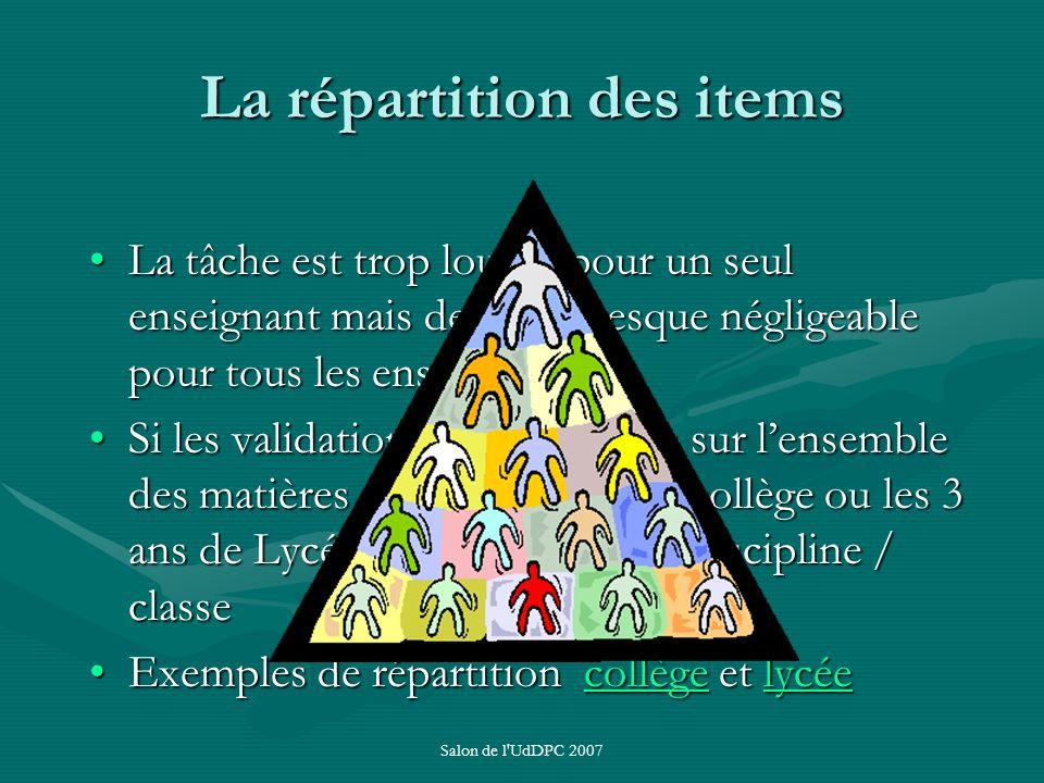 Salon de l'UdDPC 2007 La répartition des items La tâche est trop lourde pour un seul enseignant mais devient presque négligeable pour tous les enseign