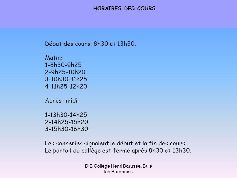 D.B Collège Henri Barusse. Buis les Baronnies HORAIRES DES COURS Début des cours: 8h30 et 13h30. Matin: 1-8h30-9h25 2-9h25-10h20 3-10h30-11h25 4-11h25