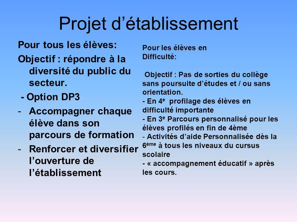 Projet détablissement Pour tous les élèves: Objectif : répondre à la diversité du public du secteur. - Option DP3 -Accompagner chaque élève dans son p