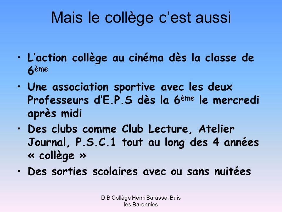 D.B Collège Henri Barusse. Buis les Baronnies Mais le collège cest aussi Laction collège au cinéma dès la classe de 6 ème Une association sportive ave