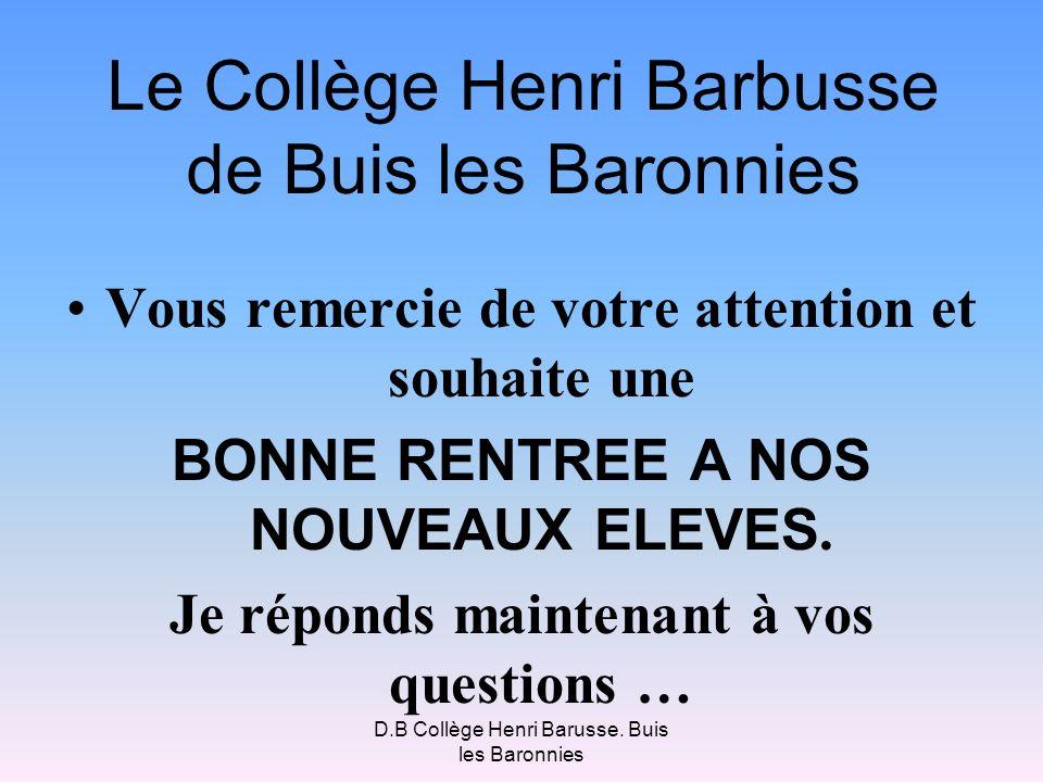D.B Collège Henri Barusse. Buis les Baronnies Le Collège Henri Barbusse de Buis les Baronnies Vous remercie de votre attention et souhaite une BONNE R