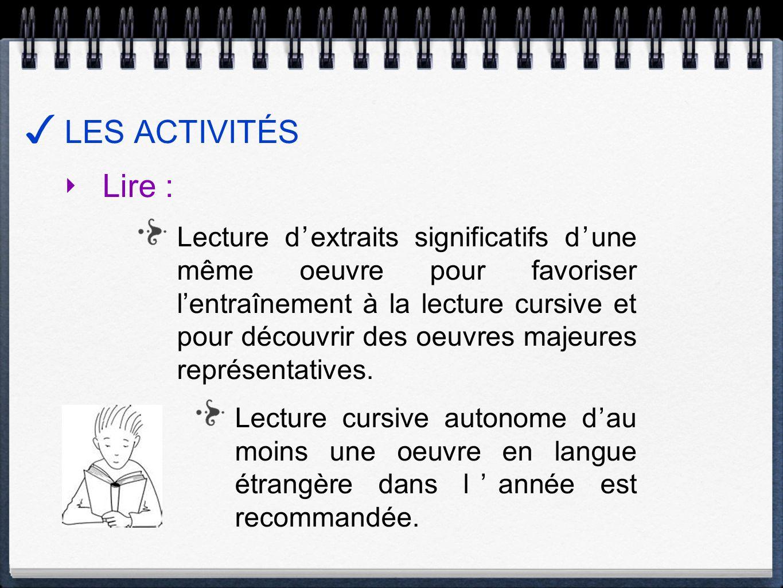 LES ACTIVITÉS Lire : Lecture dextraits significatifs dune même oeuvre pour favoriser lentraînement à la lecture cursive et pour découvrir des oeuvres