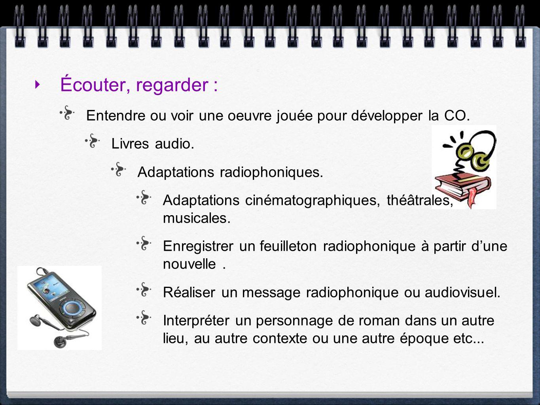 Écouter, regarder : Entendre ou voir une oeuvre jouée pour développer la CO. Livres audio. Adaptations radiophoniques. Adaptations cinématographiques,
