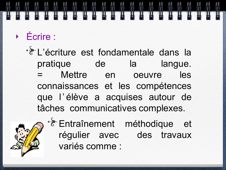 Écrire : Lécriture est fondamentale dans la pratique de la langue. = Mettre en oeuvre les connaissances et les compétences que lélève a acquises autou