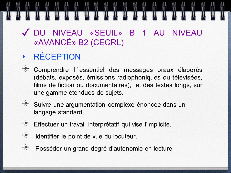 DU NIVEAU «SEUIL» B 1 AU NIVEAU «AVANCÉ» B2 (CECRL) RÉCEPTION Comprendre lessentiel des messages oraux élaborés (débats, exposés, émissions radiophoni