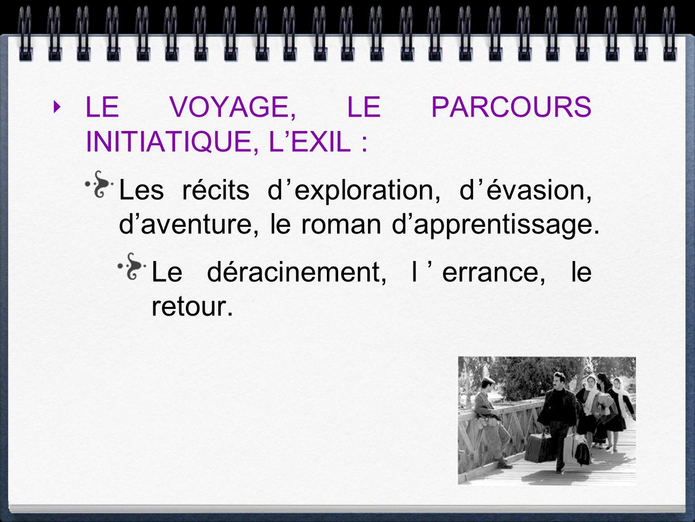 LE VOYAGE, LE PARCOURS INITIATIQUE, LEXIL : Les récits dexploration, dévasion, daventure, le roman dapprentissage. Le déracinement, lerrance, le retou