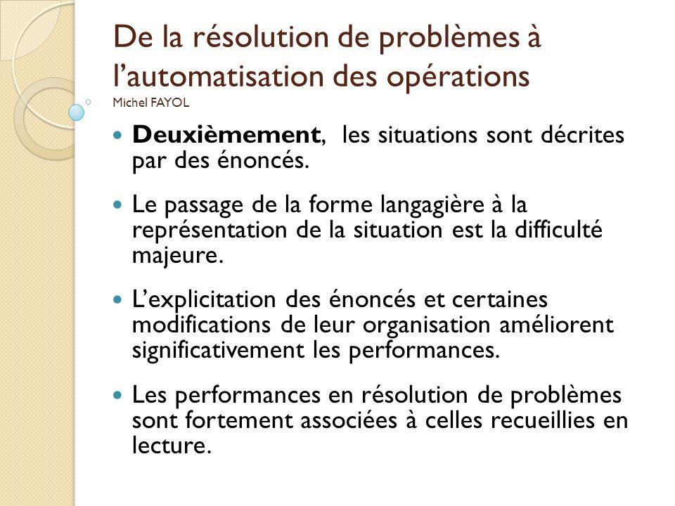 De la résolution de problèmes à lautomatisation des opérations Michel FAYOL Deuxièmement, les situations sont décrites par des énoncés. Le passage de