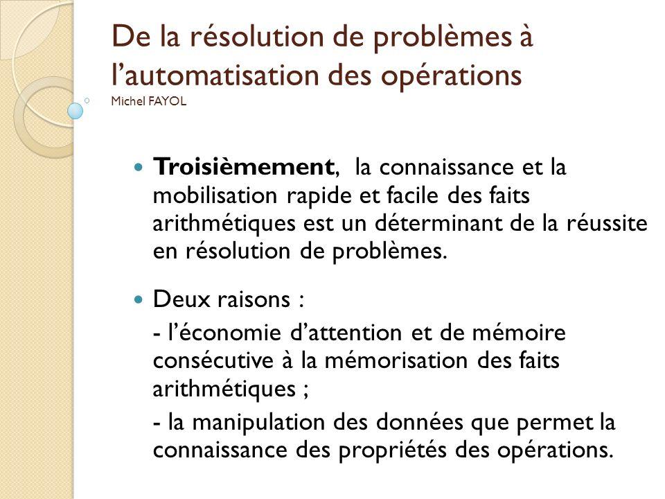 De la résolution de problèmes à lautomatisation des opérations Michel FAYOL Troisièmement, la connaissance et la mobilisation rapide et facile des fai