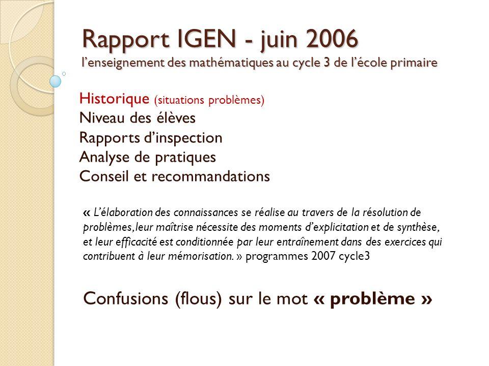 Rapport IGEN - juin 2006 lenseignement des mathématiques au cycle 3 de lécole primaire Historique (situations problèmes) Niveau des élèves Rapports di