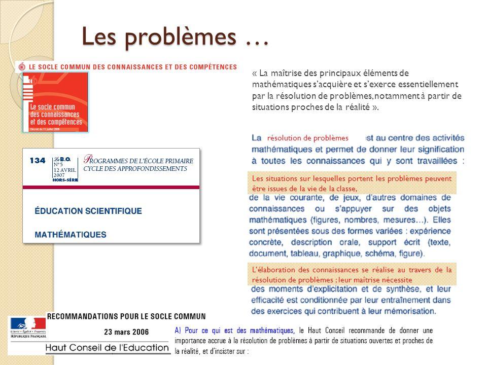 « La maîtrise des principaux éléments de mathématiques sacquière et sexerce essentiellement par la résolution de problèmes, notamment à partir de situ