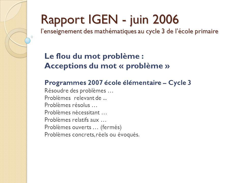 Rapport IGEN - juin 2006 lenseignement des mathématiques au cycle 3 de lécole primaire Le flou du mot problème : Acceptions du mot « problème » Progra