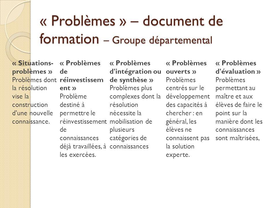 « Problèmes » – document de formation – Groupe départemental « Situations- problèmes » Problèmes dont la résolution vise la construction dune nouvelle