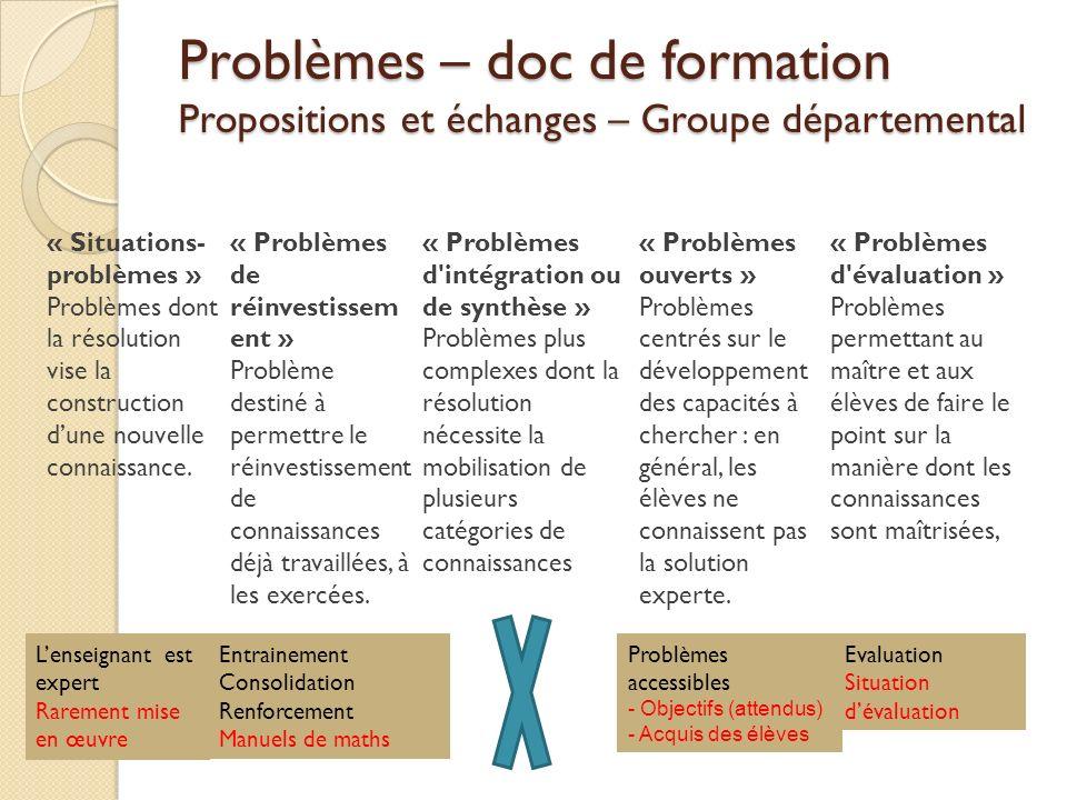 Problèmes – doc de formation Propositions et échanges – Groupe départemental « Situations- problèmes » Problèmes dont la résolution vise la constructi