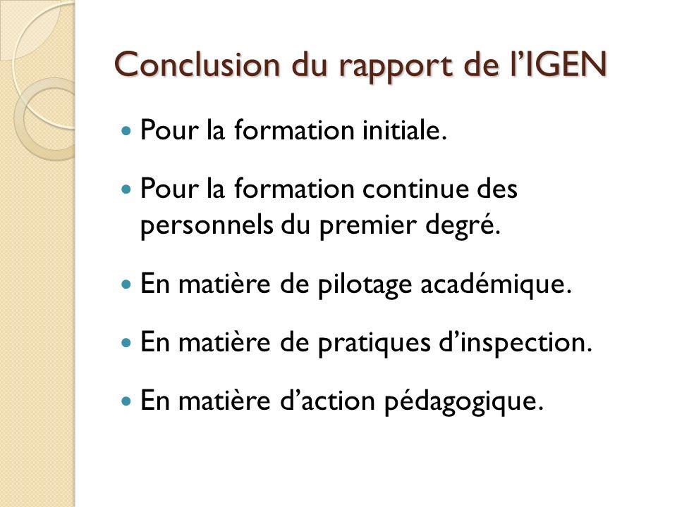 Conclusion du rapport de lIGEN Pour la formation initiale. Pour la formation continue des personnels du premier degré. En matière de pilotage académiq