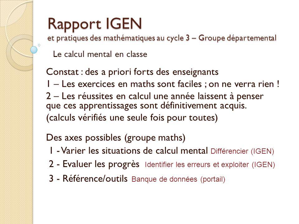 Rapport IGEN et pratiques des mathématiques au cycle 3 – Groupe départemental Constat : des a priori forts des enseignants 1 – Les exercices en maths