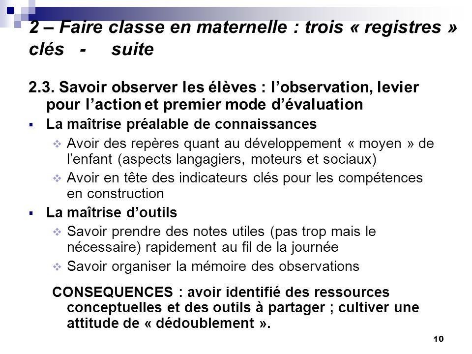 10 2 – Faire classe en maternelle : trois « registres » clés - suite 2.3. Savoir observer les élèves : lobservation, levier pour laction et premier mo