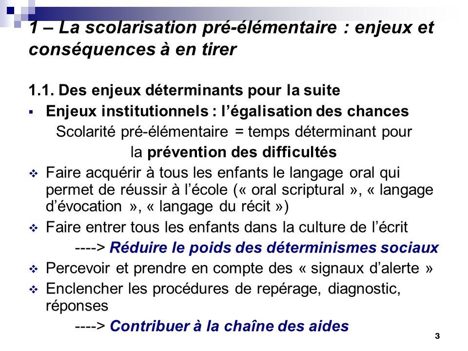 3 1 – La scolarisation pré-élémentaire : enjeux et conséquences à en tirer 1.1. Des enjeux déterminants pour la suite Enjeux institutionnels : légalis