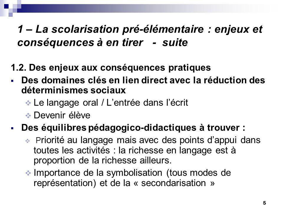 5 1 – La scolarisation pré-élémentaire : enjeux et conséquences à en tirer - suite 1.2. Des enjeux aux conséquences pratiques Des domaines clés en lie