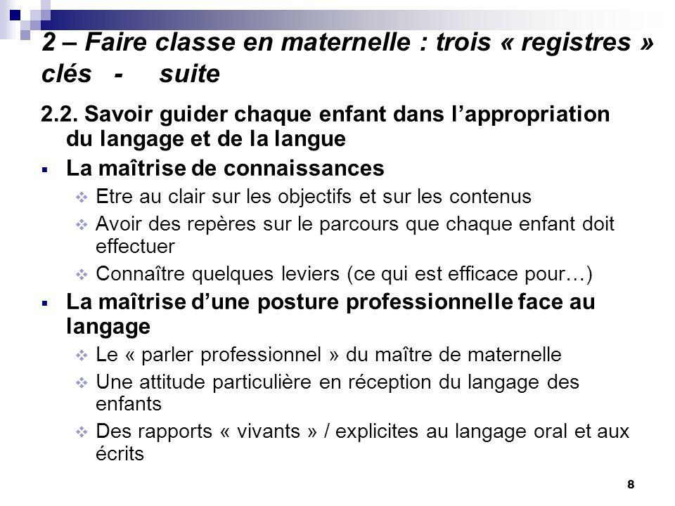 8 2 – Faire classe en maternelle : trois « registres » clés - suite 2.2. Savoir guider chaque enfant dans lappropriation du langage et de la langue La