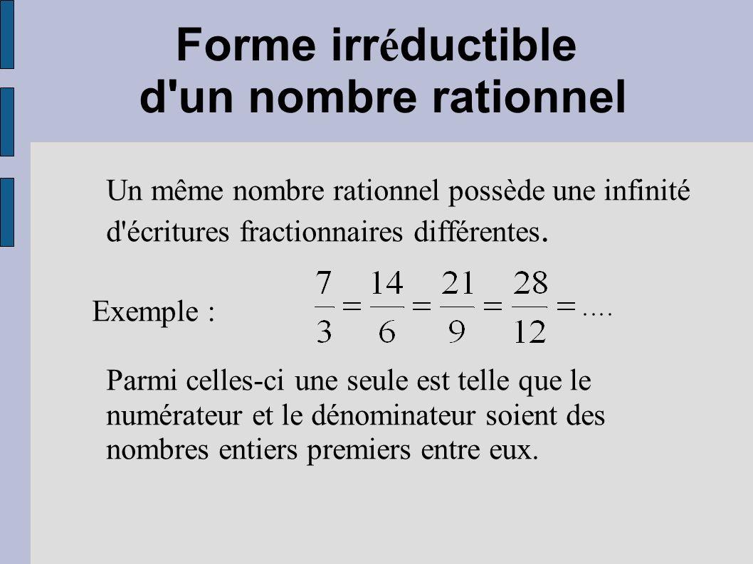 Forme irr é ductible d'un nombre rationnel Un même nombre rationnel possède une infinité d'écritures fractionnaires différentes. Exemple : Parmi celle