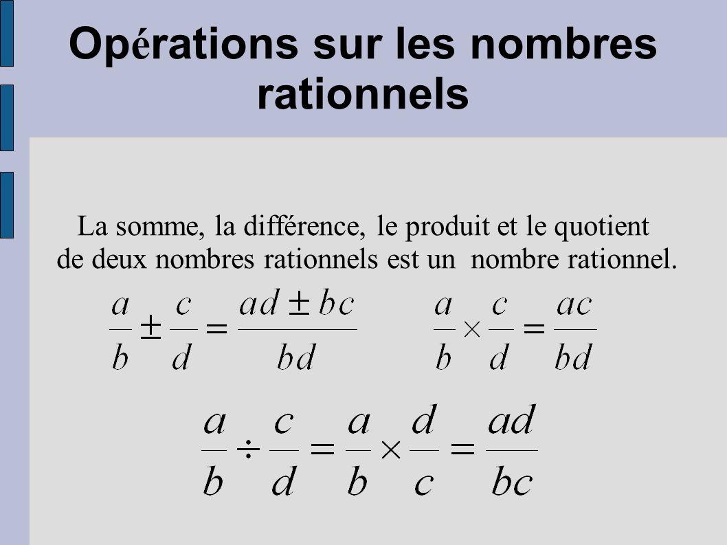 Op é rations sur les nombres rationnels La somme, la différence, le produit et le quotient de deux nombres rationnels est un nombre rationnel.