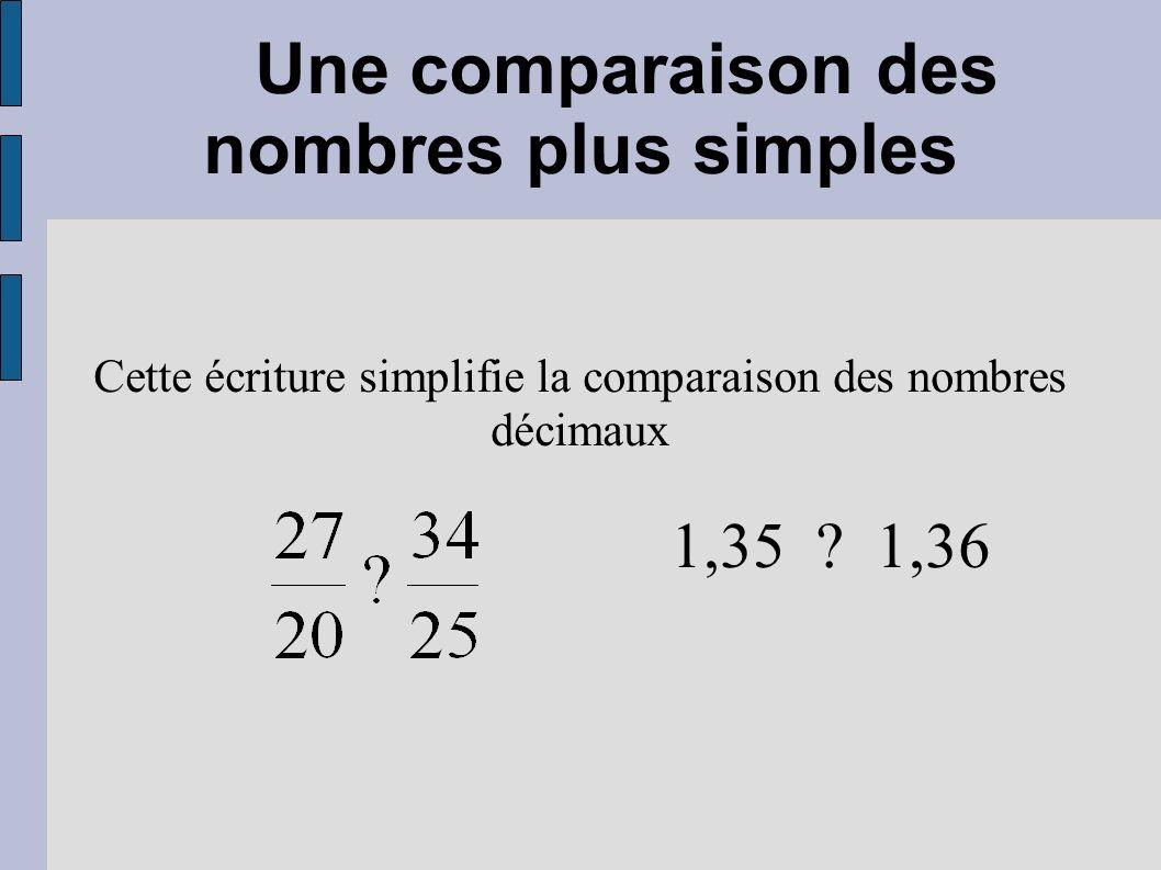 Une comparaison des nombres plus simples Cette écriture simplifie la comparaison des nombres décimaux 1,35 ? 1,36