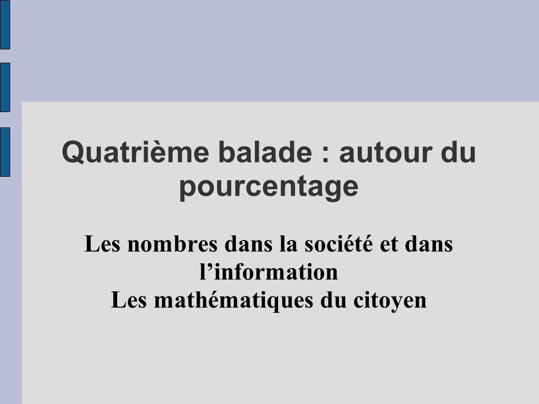 Quatrième balade : autour du pourcentage Les nombres dans la société et dans linformation Les mathématiques du citoyen