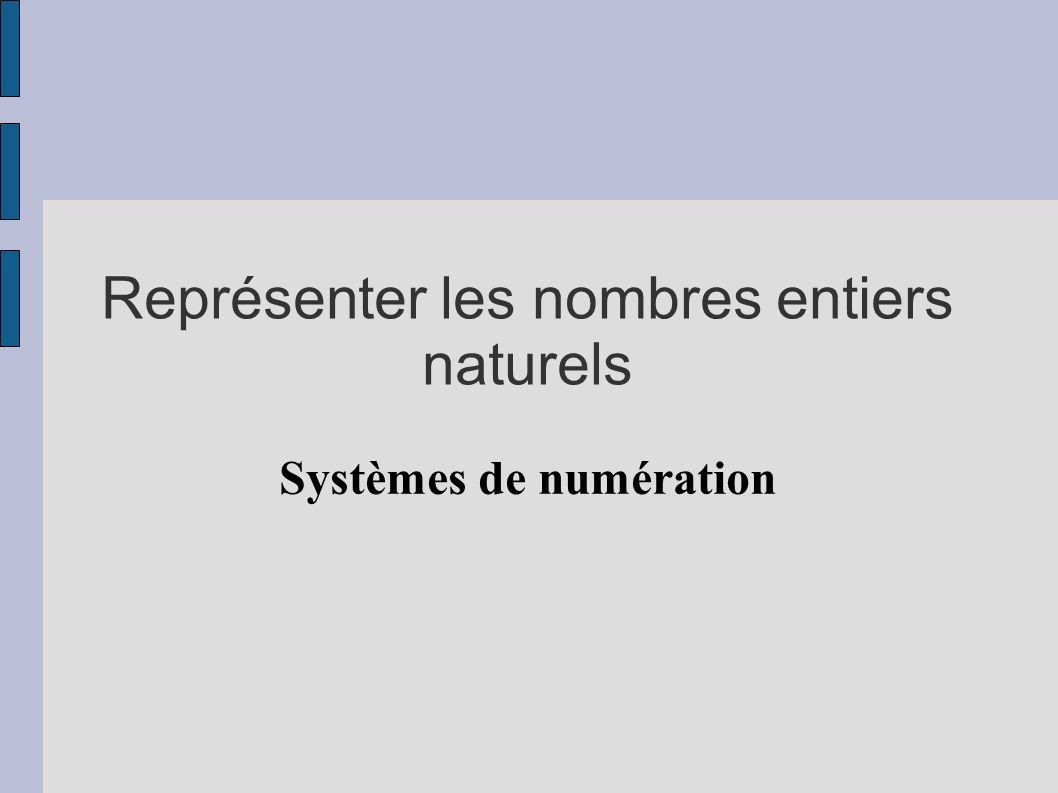 Représenter les nombres entiers naturels Systèmes de numération