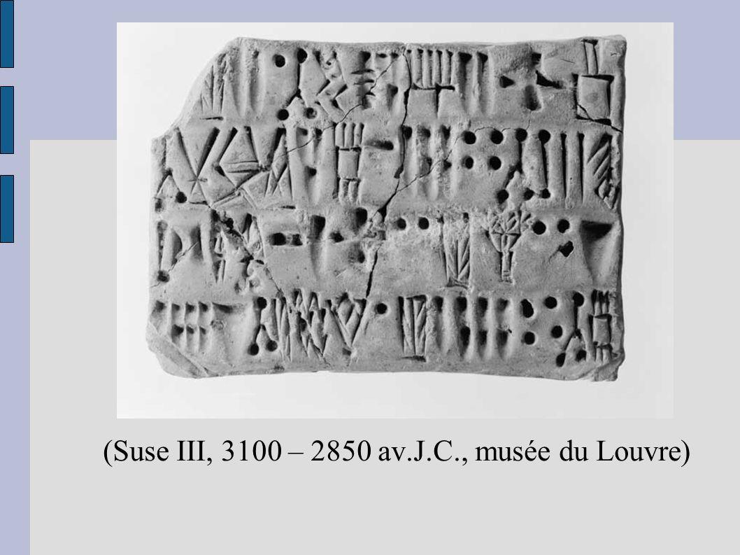 Des jetons aux chiffres (Suse III, 3100 – 2850 av.J.C., musée du Louvre)