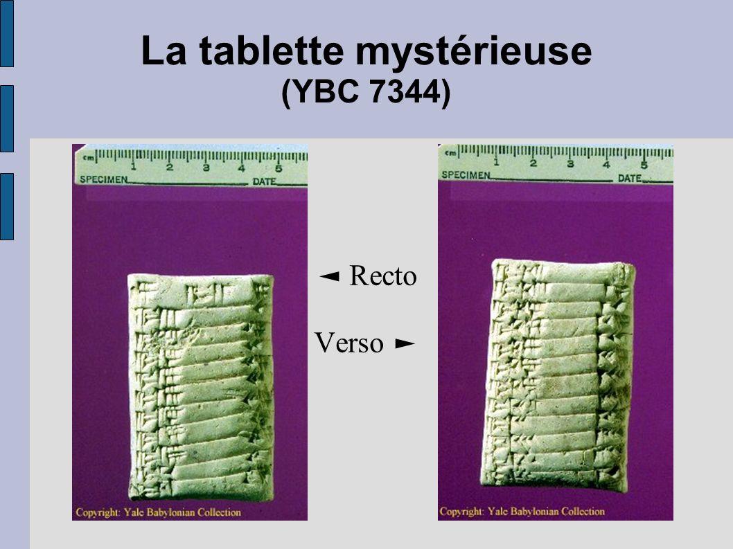 La tablette mystérieuse (YBC 7344) Recto Verso