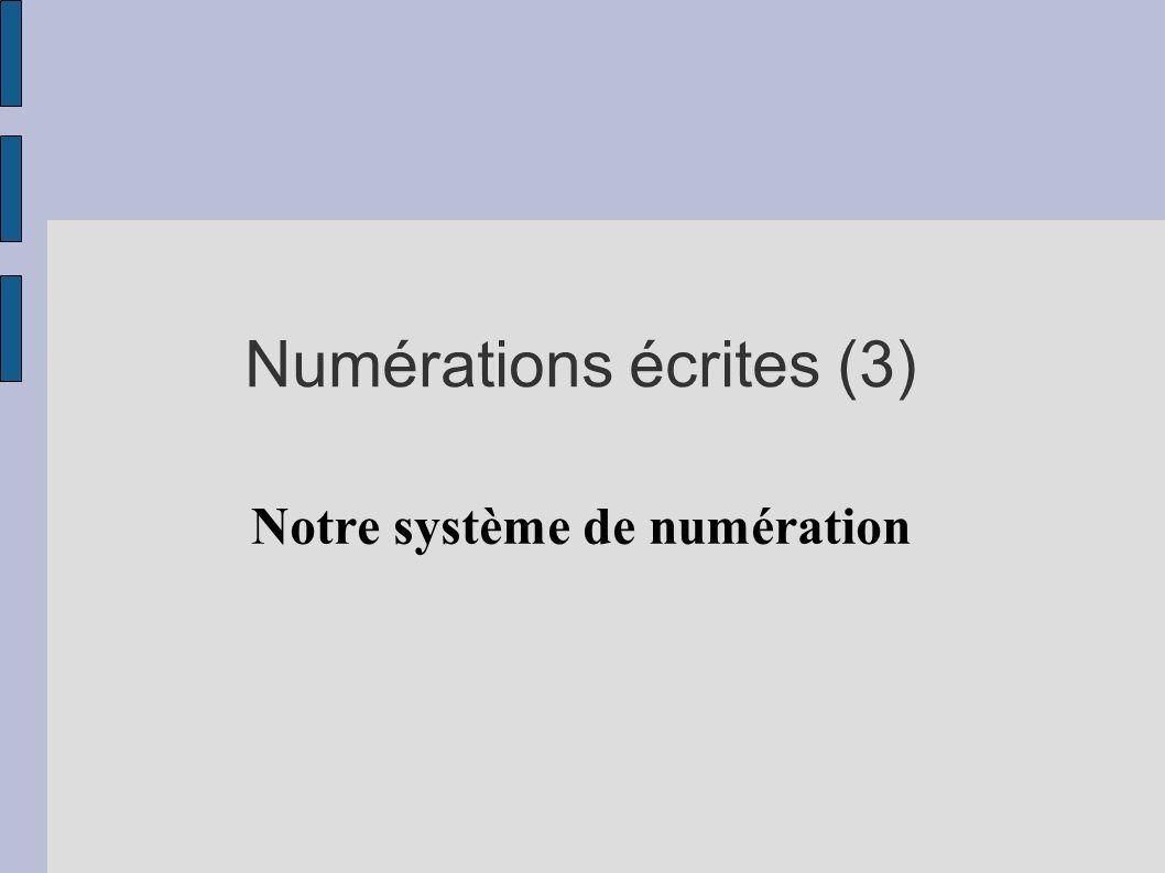 Numérations écrites (3) Notre système de numération
