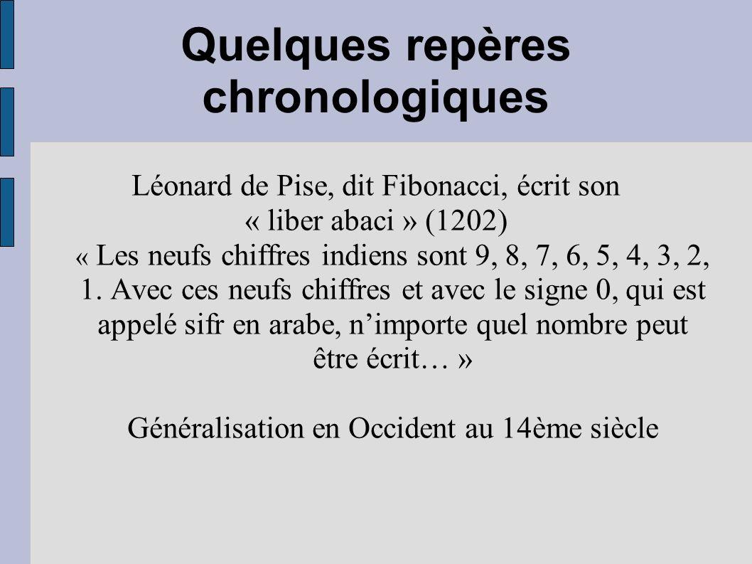 Quelques repères chronologiques Léonard de Pise, dit Fibonacci, écrit son « liber abaci » (1202) « Les neufs chiffres indiens sont 9, 8, 7, 6, 5, 4, 3