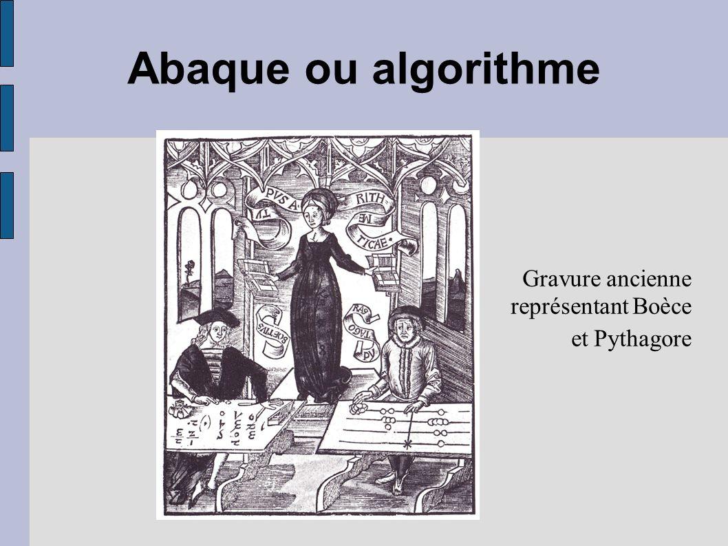 Abaque ou algorithme Gravure ancienne représentant Boèce et Pythagore