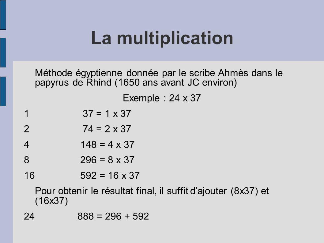 La multiplication Méthode égyptienne donnée par le scribe Ahmès dans le papyrus de Rhind (1650 ans avant JC environ) Exemple : 24 x 37 137 = 1 x 37 27