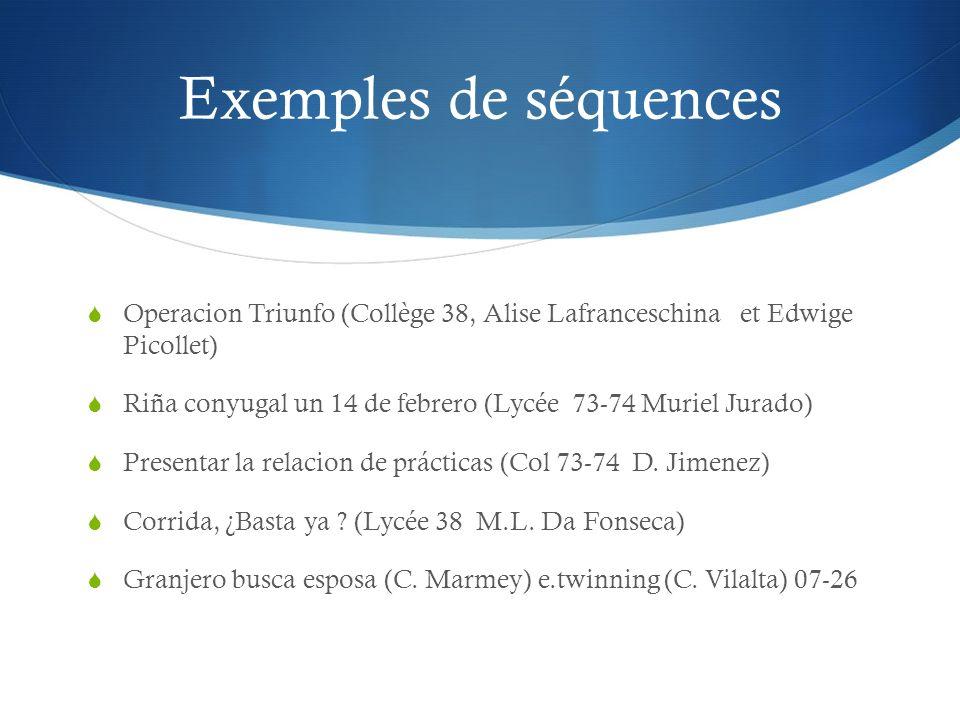 Exemples de séquences Operacion Triunfo (Collège 38, Alise Lafranceschina et Edwige Picollet) Riña conyugal un 14 de febrero (Lycée 73-74 Muriel Jurad