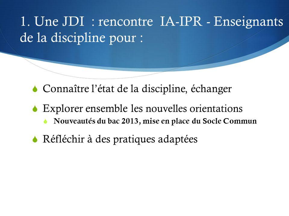 1. Une JDI : rencontre IA-IPR - Enseignants de la discipline pour : Connaître létat de la discipline, échanger Explorer ensemble les nouvelles orienta