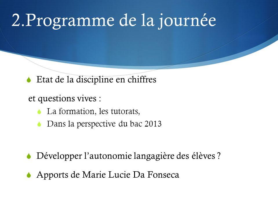 2.Programme de la journée Etat de la discipline en chiffres et questions vives : La formation, les tutorats, Dans la perspective du bac 2013 Développe