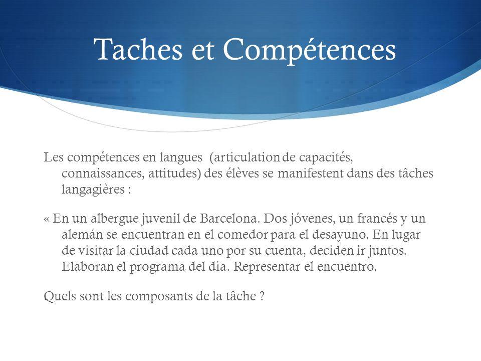 Taches et Compétences Les compétences en langues (articulation de capacités, connaissances, attitudes) des élèves se manifestent dans des tâches langa