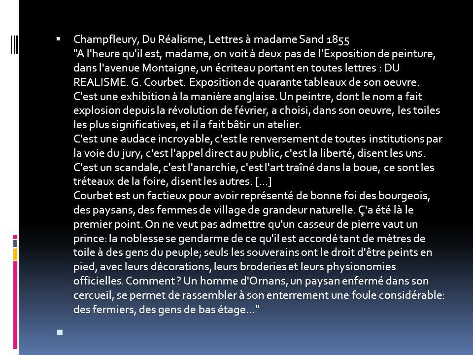 Champfleury, Du Réalisme, Lettres à madame Sand 1855