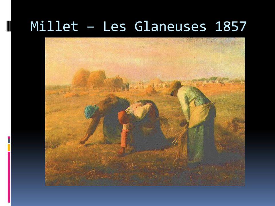 Fidèle à l un de ses sujets favoris, la vie paysanne, Millet livre dans ce tableau le résultat de dix années de recherches autour du thème des glaneuses.