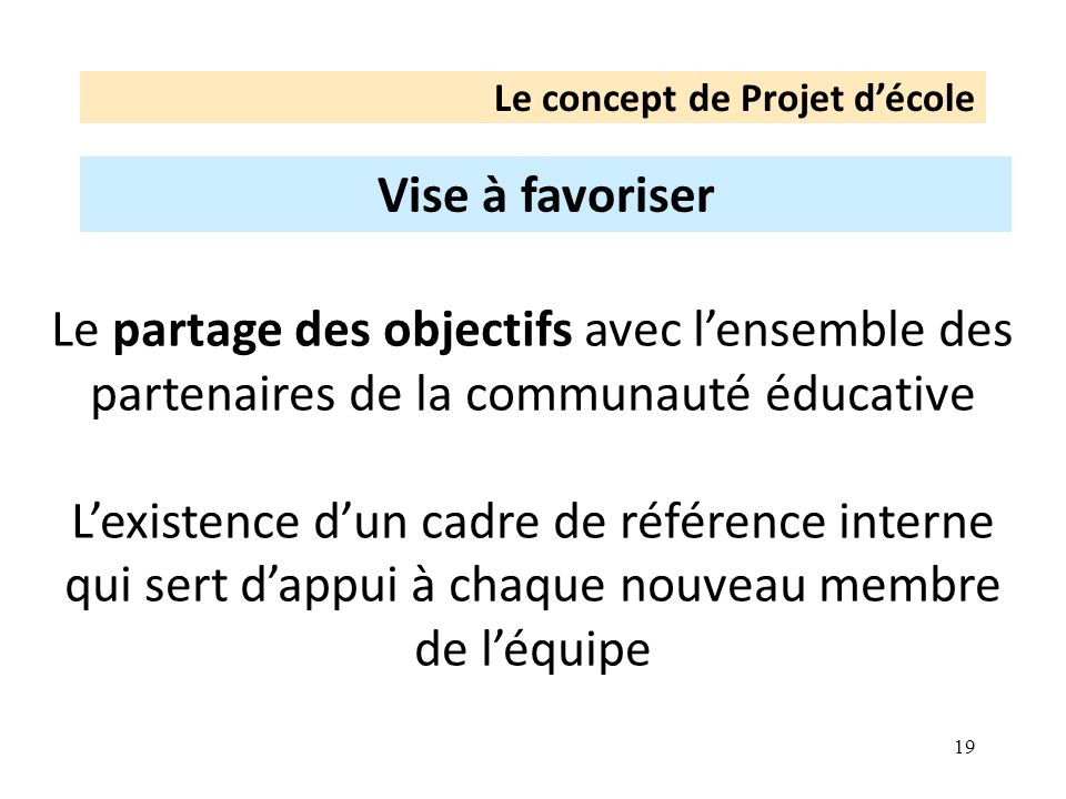 19 Le concept de Projet décole Vise à favoriser Le partage des objectifs avec lensemble des partenaires de la communauté éducative Lexistence dun cadre de référence interne qui sert dappui à chaque nouveau membre de léquipe